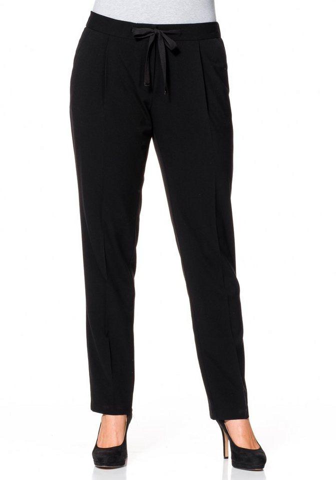 sheego Class Schmale Stretch-Hose mit Bundfalte in schwarz
