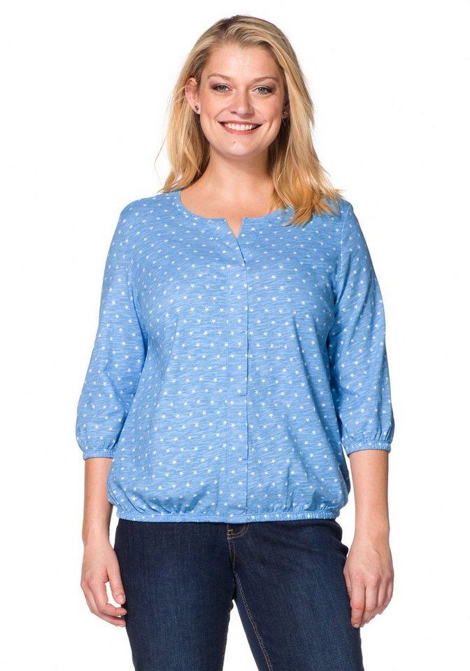 sheego Casual Blusenshirt mit Minimal-Print in bleu