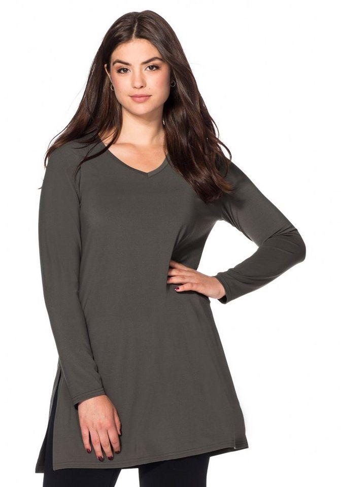 sheego Style Longshirt mit Seitenschlitzen in dunkelgrau
