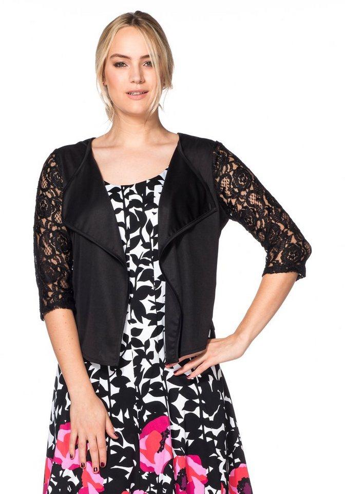 Sheego Style Spitzenjacke in schwarz