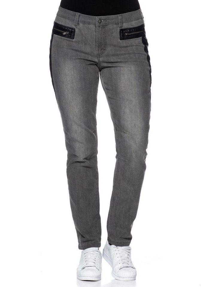 sheego Denim Schmale Stretch-Jeans in grey Denim
