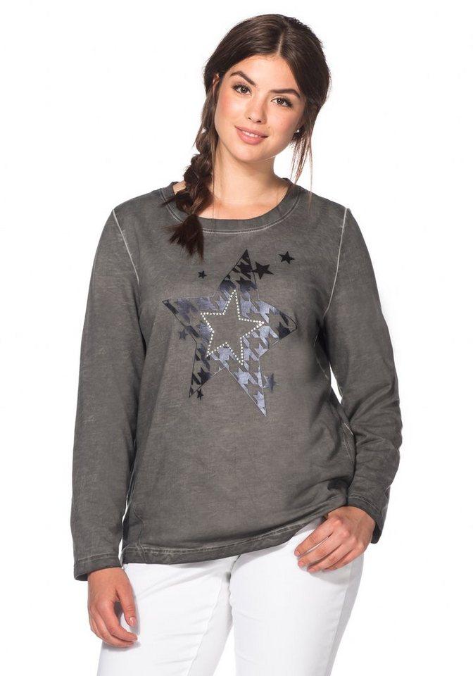 sheego Casual Sweatshirt in Oil-washed-Optik in dunkelgrau
