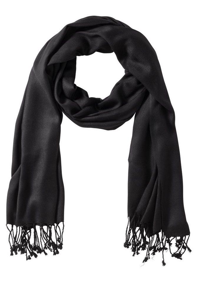 sheego Schal mit langen Fransen in schwarz