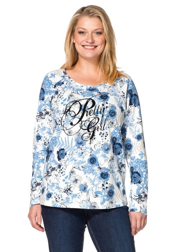 sheego Casual Sweatshirt mit samtigem Flockdruck in offwhite-bleu bedruckt