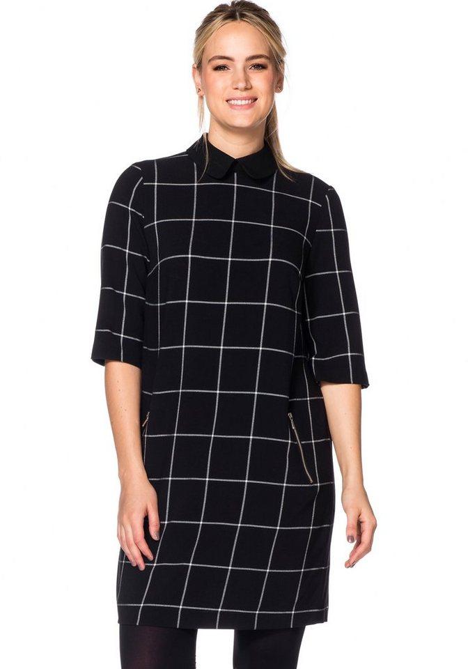 sheego Trend Karokleid mit Bubikragen in schwarz-weiß
