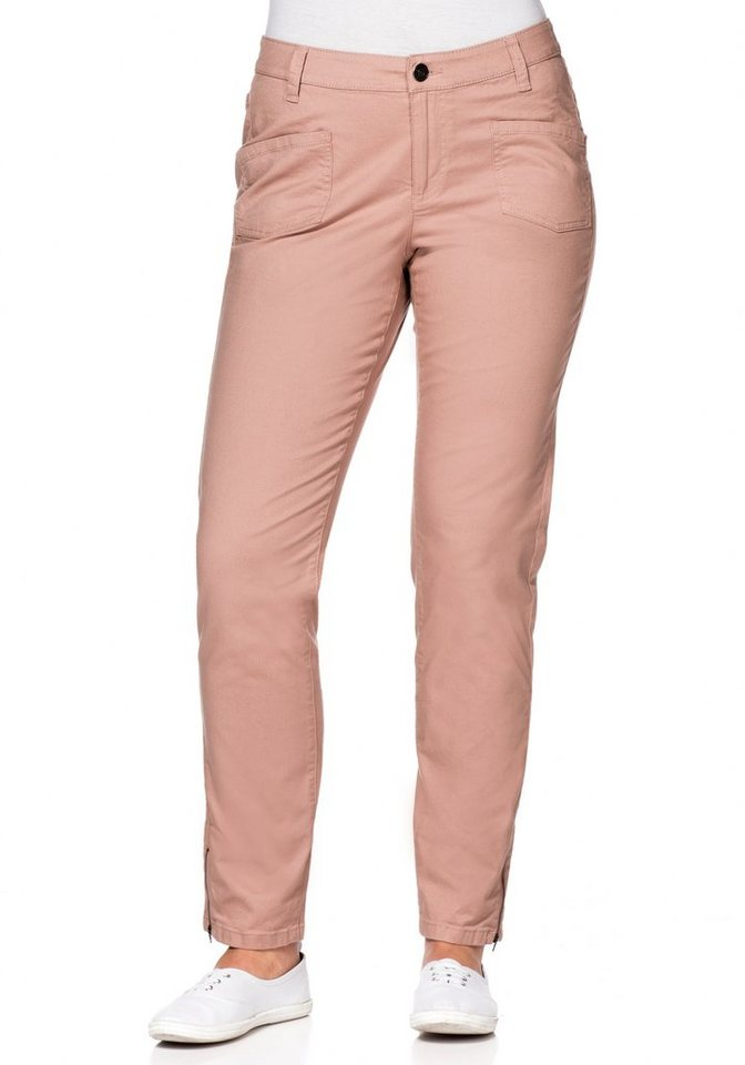 sheego Casual Schmale Stretchhose mit Zippern in puderrosé