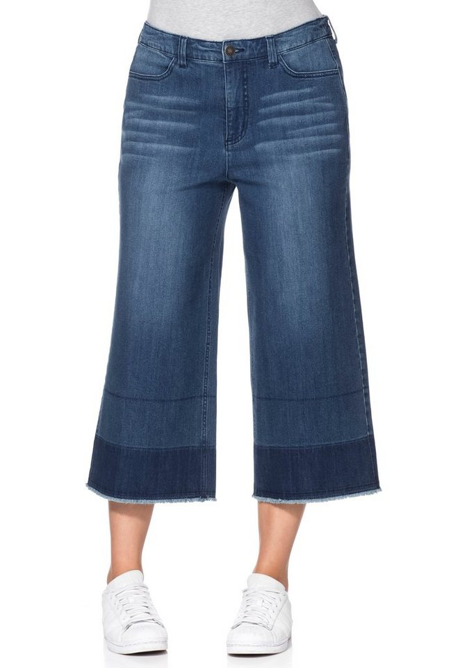 sheego denim jeans culotte mit fransen kaufen otto. Black Bedroom Furniture Sets. Home Design Ideas
