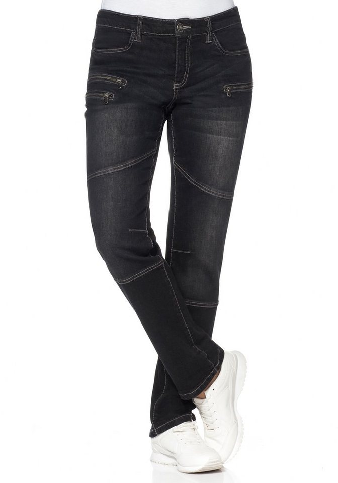 sheego Denim Gerade Stretch-Jeans mit Knieabnäher und Zipper in black Denim