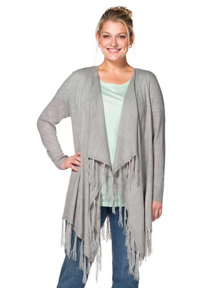 sheego Casual Cardigan mit Fransen in Zipfeloptik in grau meliert