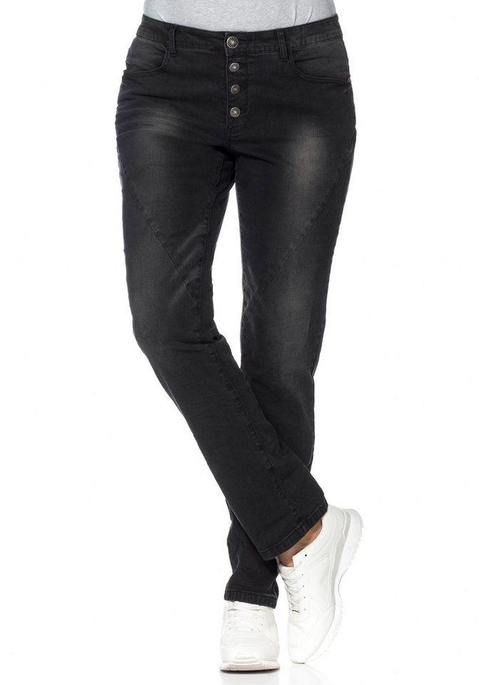 sheego Denim Schmale Stretch-Jeans in black denim