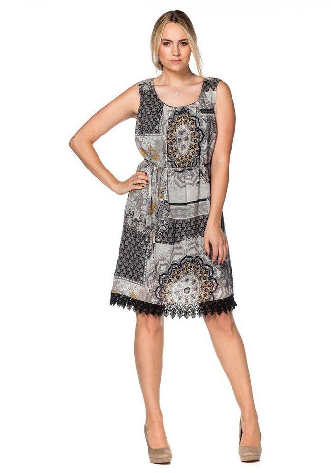 sheego Style Chiffonkleid in steingrau-offwhite