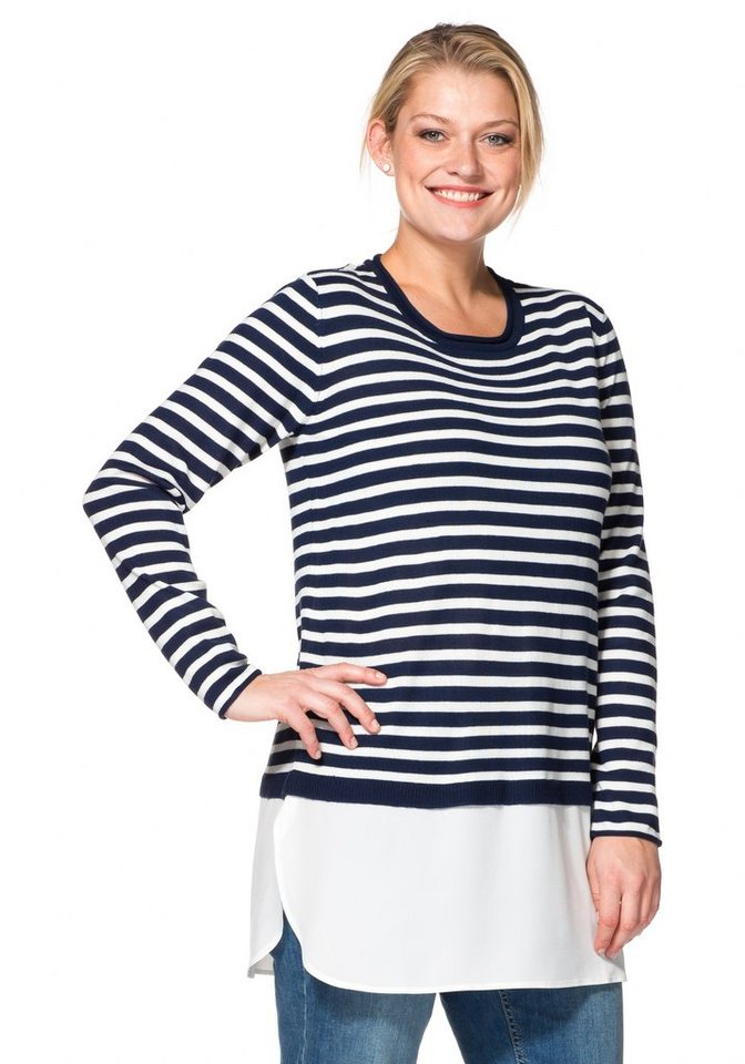sheego Casual Ringel-Pullover in 2-in-1-Optik in marine-offwhite