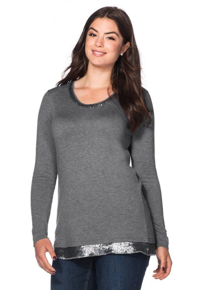 sheego Style Pullover mit Pailletten in grau meliert