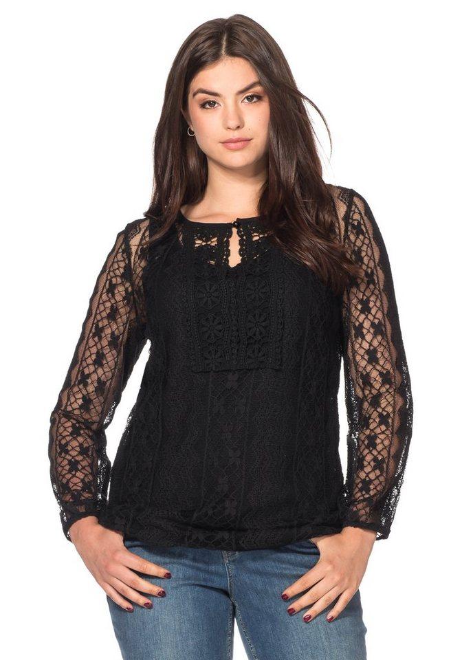 sheego Style Spitzenshirt in schwarz