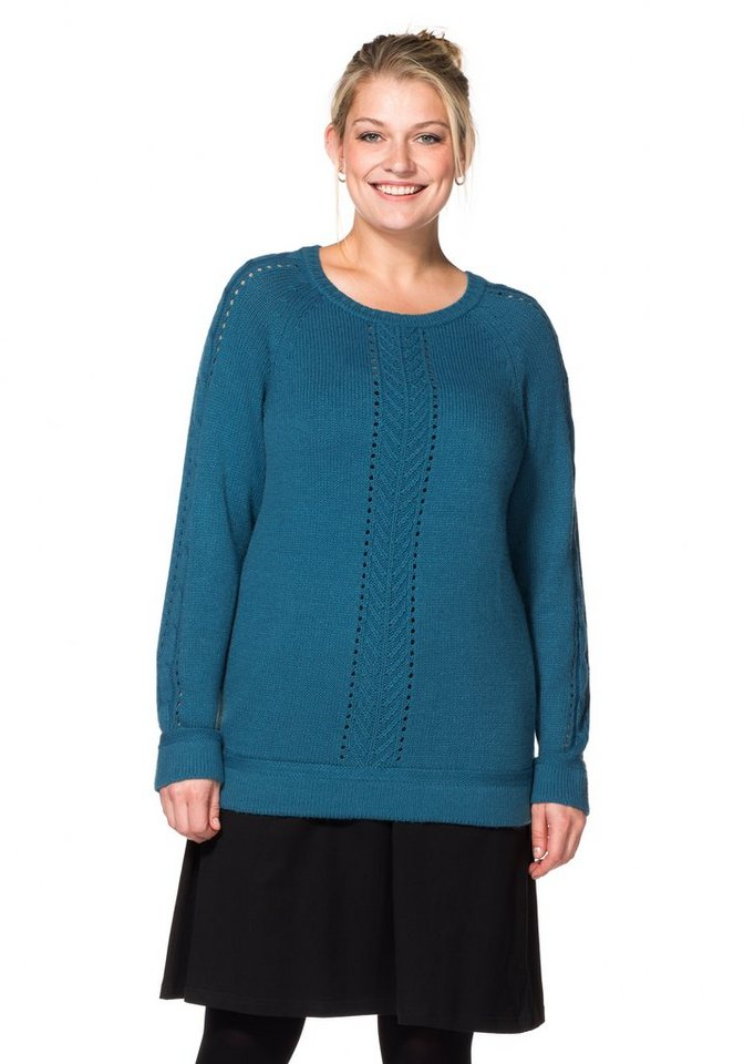 sheego Casual Pullover mit Lochstrickmuster
