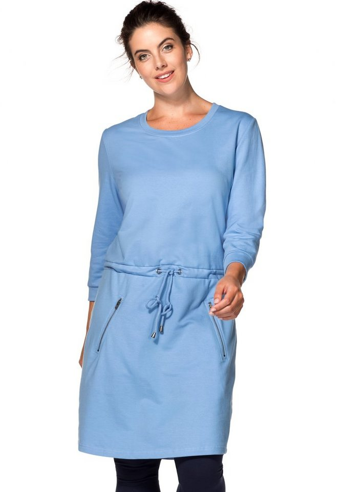 sheego Casual Sweatkleid mit Tunnelzug in bleu
