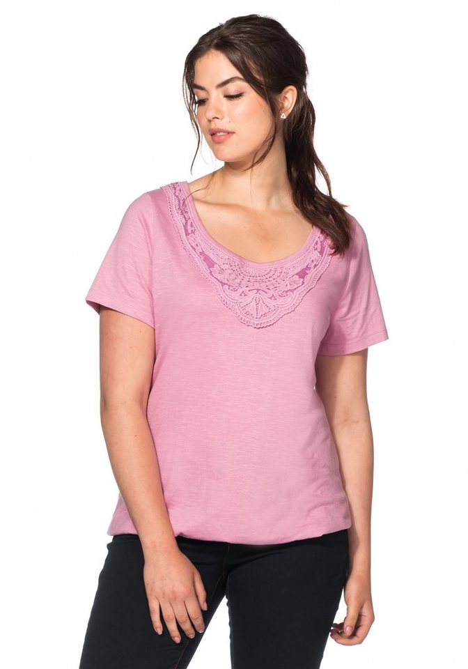 sheego Casual T-Shirt mit Spitze in malve