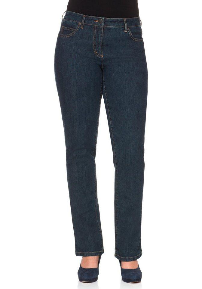 "sheego Denim Gerade Stretch-Jeans ""Lana"" in dark blue denim"