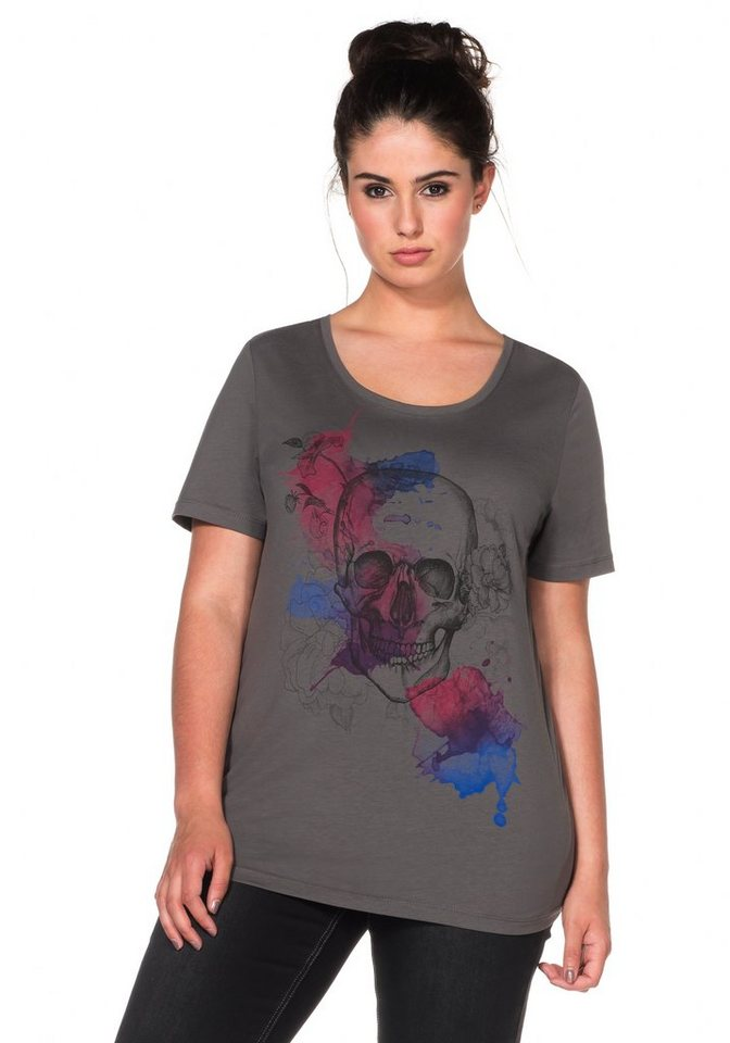 sheego Trend T-Shirt mit Frontdruck in dunkelgrau bedruckt