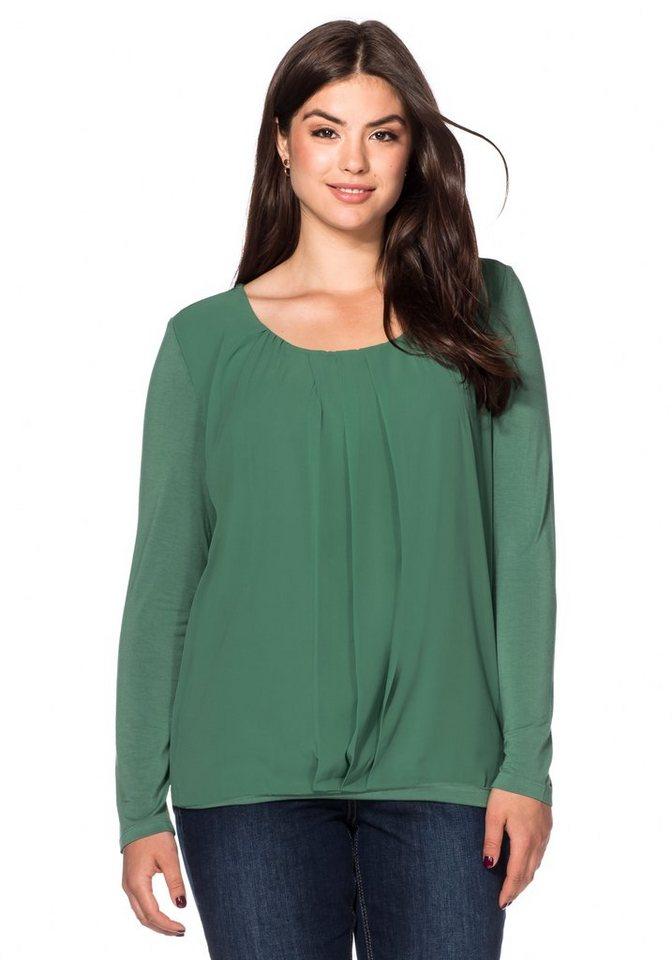sheego Style Langarmshirt mit Chiffon in seegrün