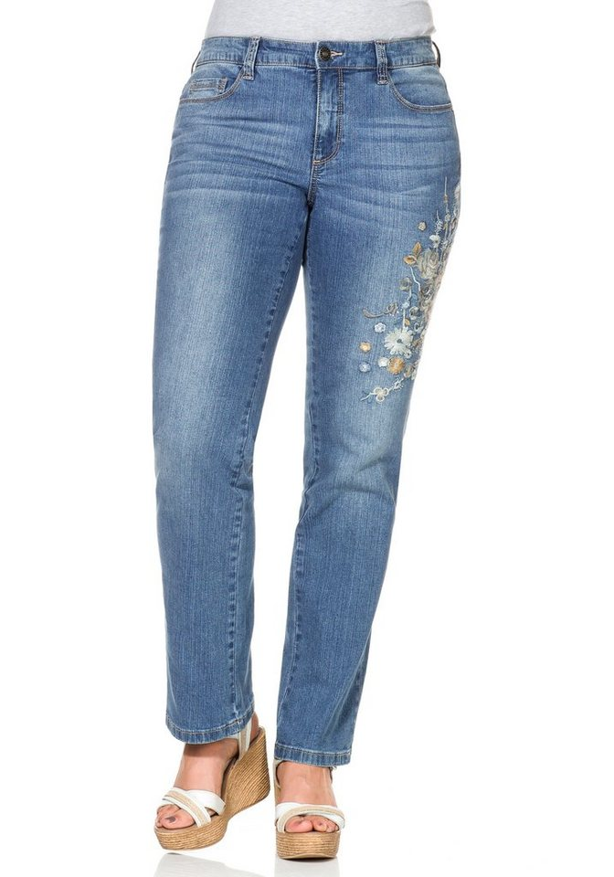 sheego Style Gerade Stretchjeans LANA mit Stickerei in blue Denim
