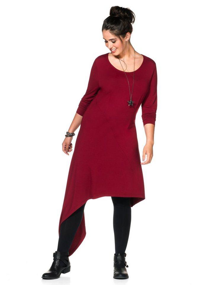 sheego Trend Jerseykleid mit asymmetrischem Schnitt in bordeaux