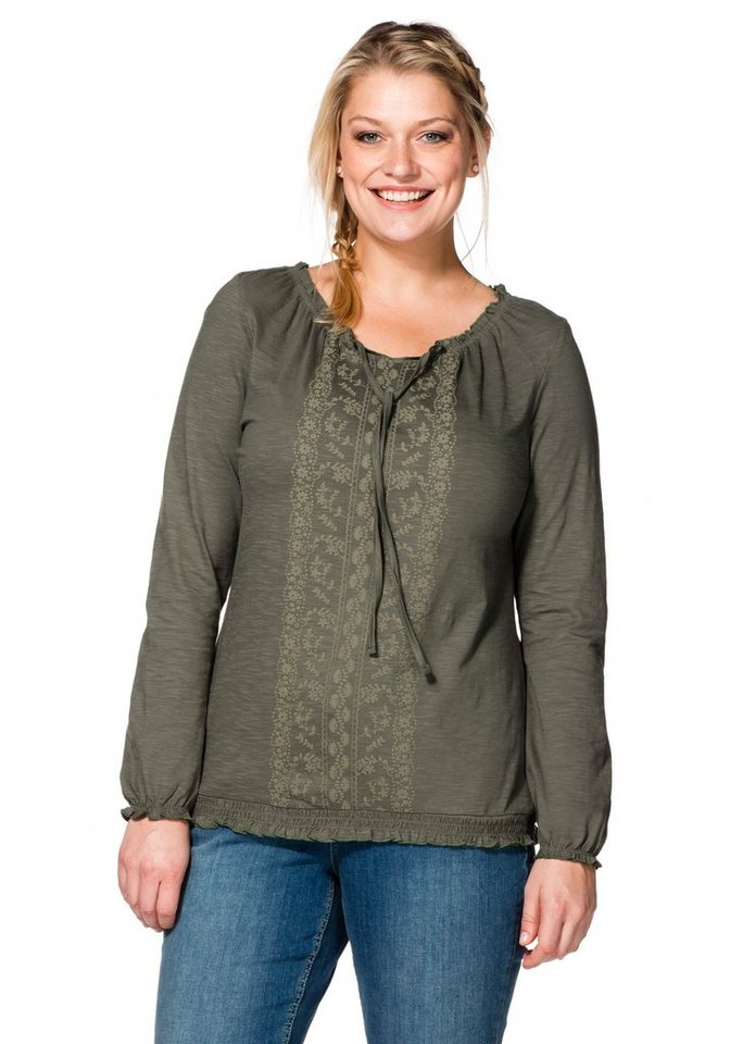 sheego Casual Langarmshirt mit Spitzendruck in khaki