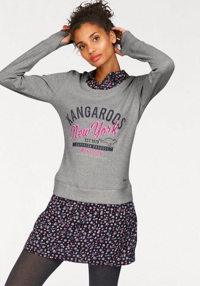KangaROOS Sweatkleid im 2-in-1-Look in grau-meliert-marine-pink