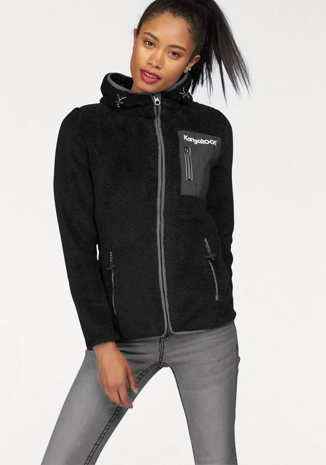 KangaROOS Fleecejacke mit Brusttasche aus Web in schwarz-grau