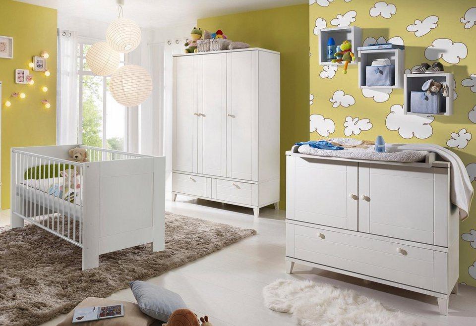 Komplett Babyzimmer »Bella weiß« im Landhausstil: Babybett+Wickelkommode+Kleiderschrank, (3-tlg.) in weiß matt