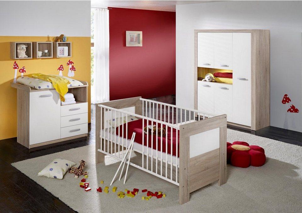 Komplett Babyzimmer »Moritz«: Babybett+Wickelkommode+Kleiderschrank,(3-tlg.) eiche sägerau/weiß in eiche sägerau/weiß matt