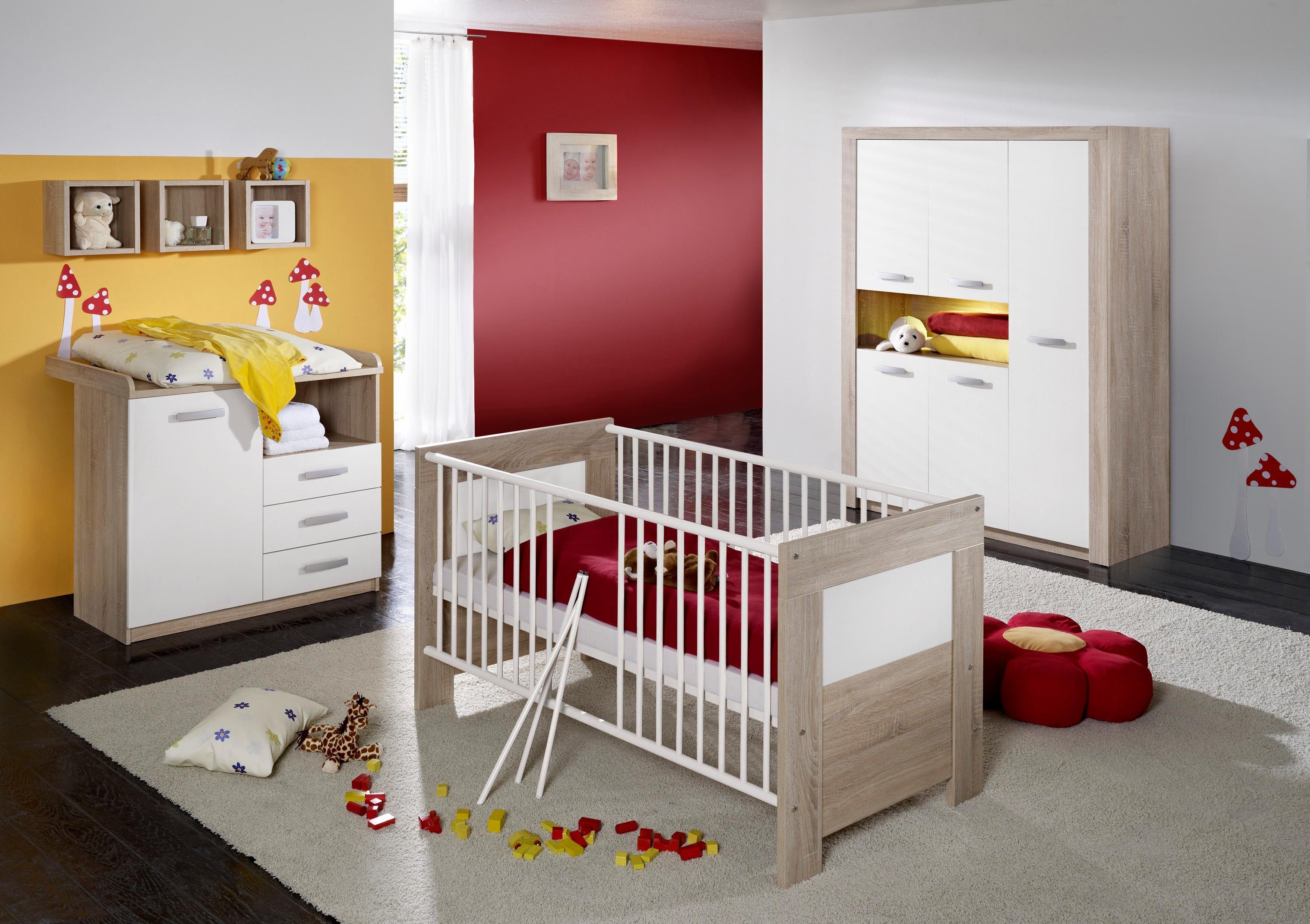 Komplett Babyzimmer »Moritz«: Babybett+Wickelkommode+Kleiderschrank,(3-tlg.) eiche sägerau/weiß