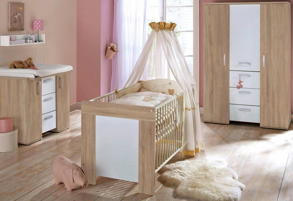 komplett babyzimmer michi babybett wickelkommode kleiderschrank 3 tlg eiche nb wei. Black Bedroom Furniture Sets. Home Design Ideas