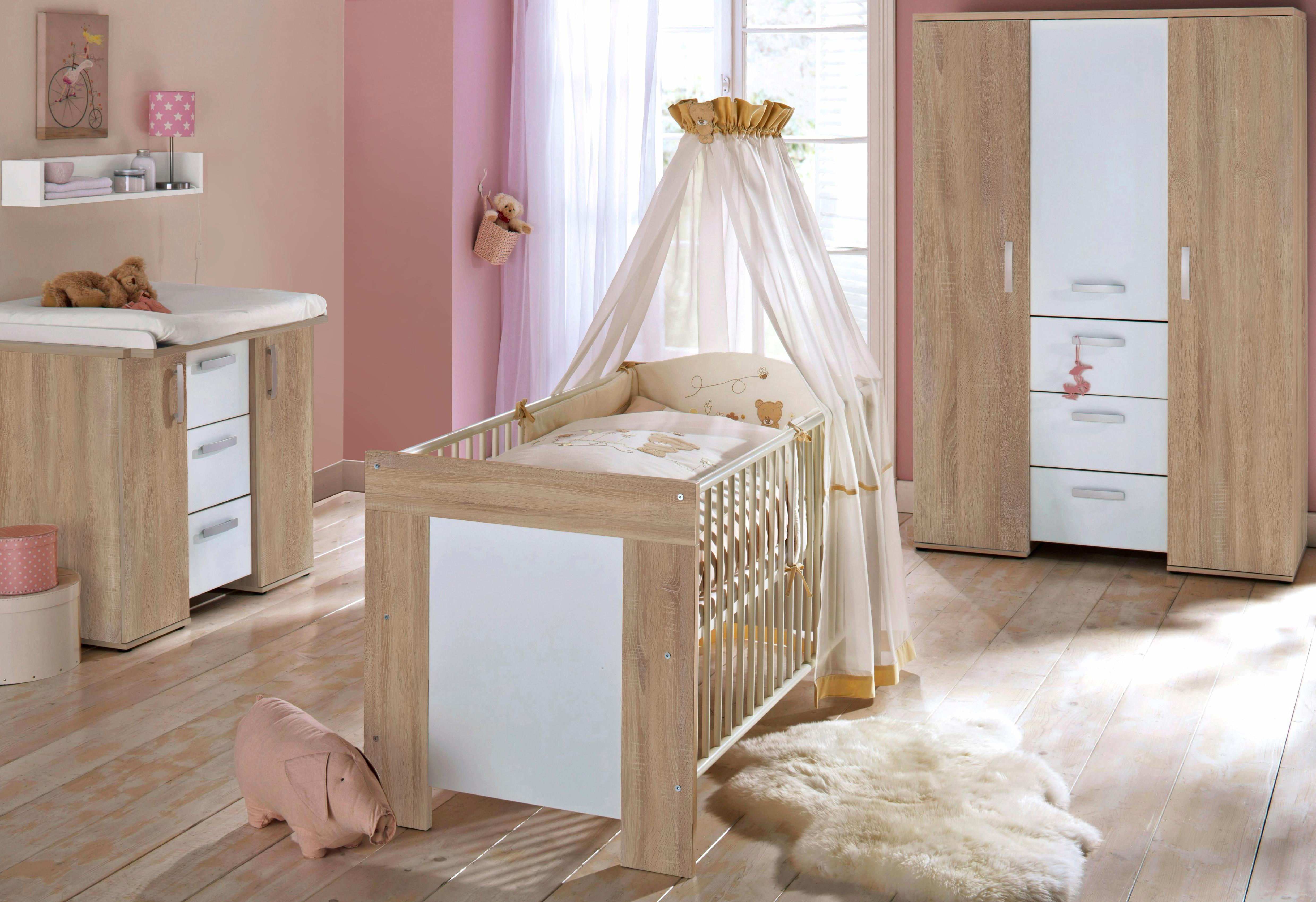 Komplett Babyzimmer »Michi«: Babybett+Wickelkommode+Kleiderschrank, (3-tlg.) eiche NB/weiß
