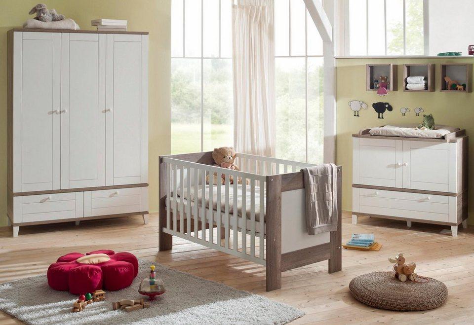 Komplett Babyzimmer »Bella« im Landhausstil: Babybett + Wickelkommode + Kleiderschrank (3-tlg.) in wildeiche trüffel/weiß matt