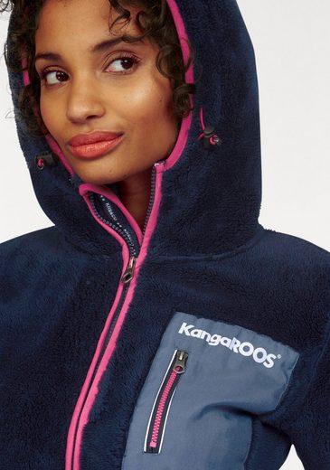 KangaROOS Fleecejacke, mit Brusttasche aus Web