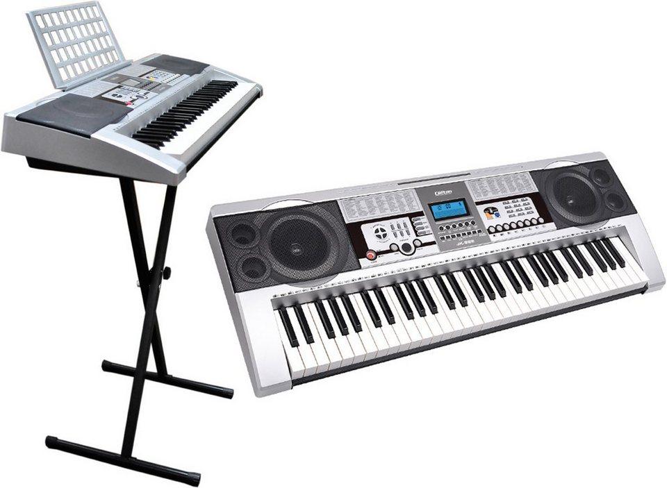 Clifton Elektronisches Keyboard mit Ständer, »61-Tasten Keyboard mit LC-Display« in silberfarben
