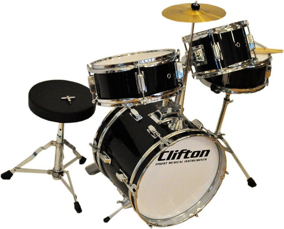 Clifton Kinder Schlagzeug, »Junior Akustik Drum Set« in schwarz/silber