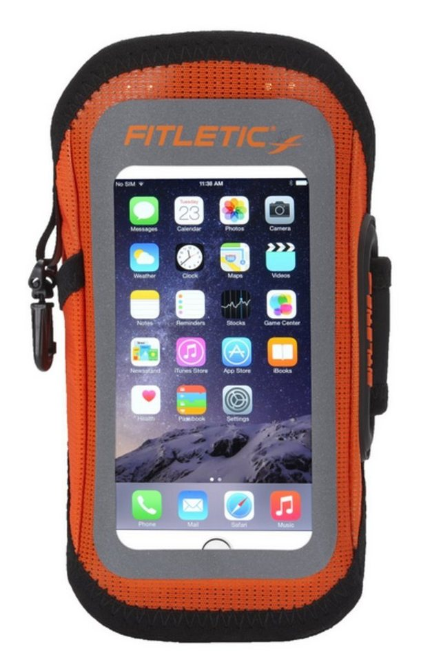 Fitletic Sportarmband »Smartphone Armtasche EASY - Größe L/XL« in Orange-Anthrazit