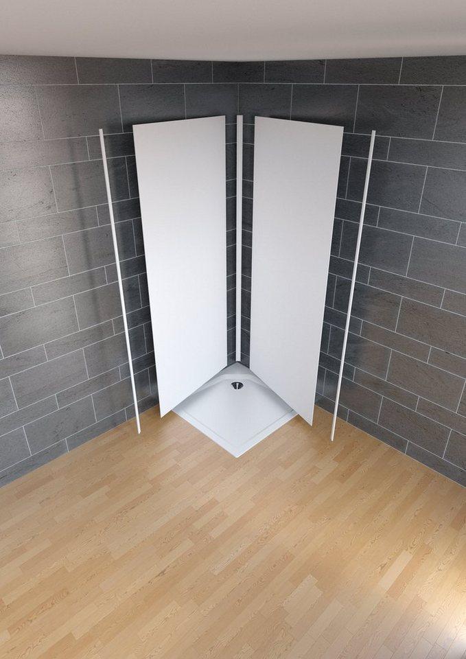 Duschrückwand »Decodesign Farbe« Set ''Ecke'' in weiß