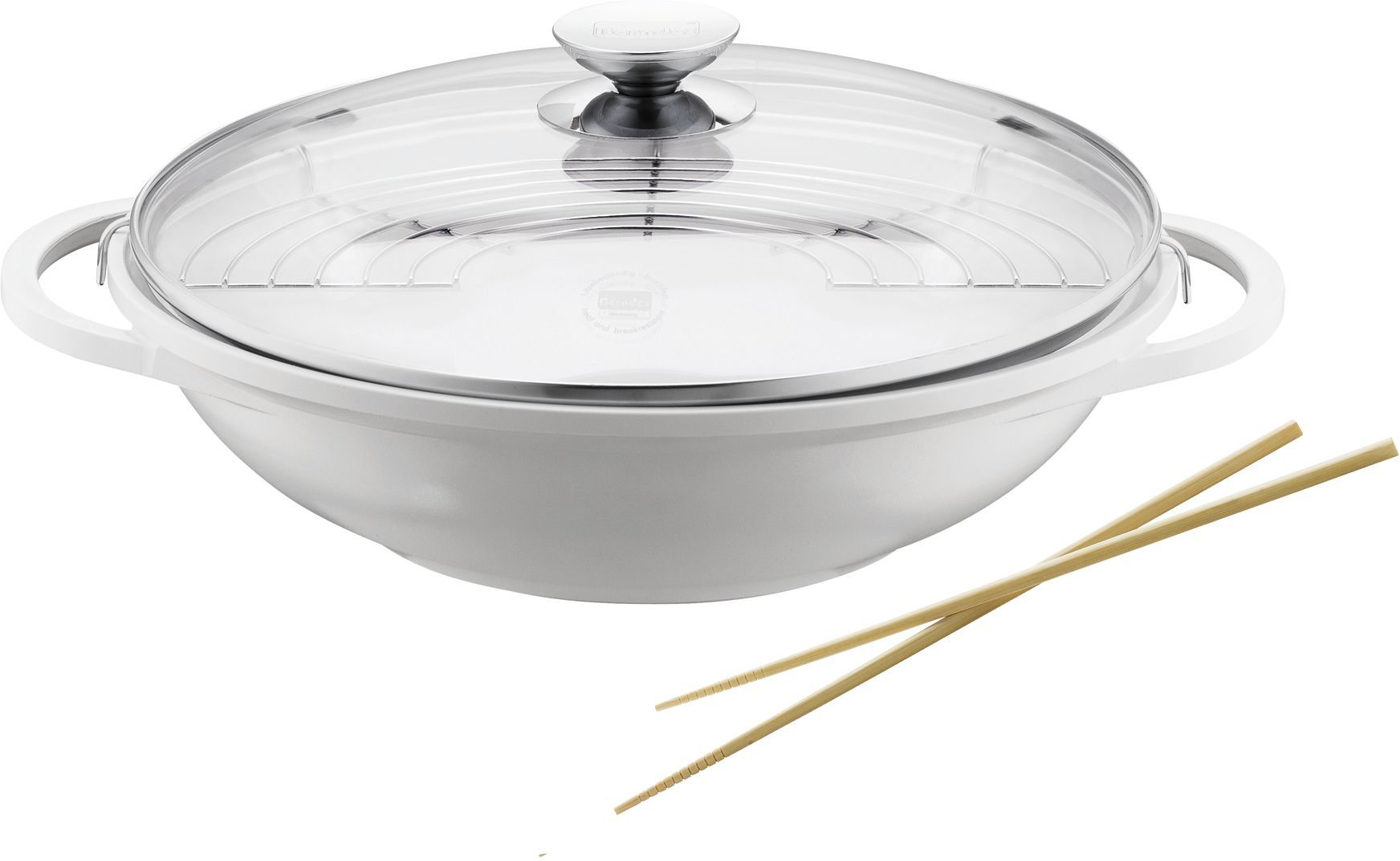 Berndes Wok mit Glasdeckel u. Zubehör, Aluguss, Induktion, 32 cm, »VARIO CLICK INDUCTION WHITE«