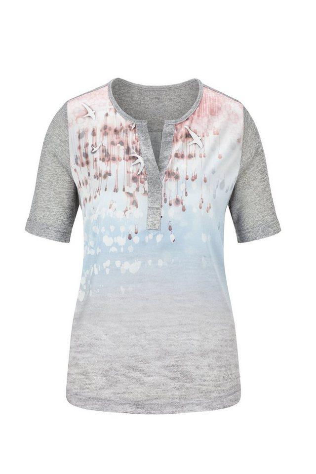 Rabe Poloshirt mit Farbverlauf und Motivdruck in ANTHRAZIT