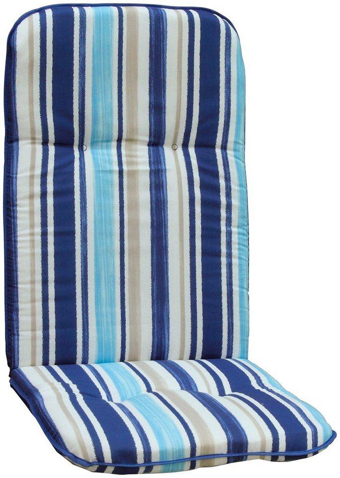 Hochlehnerauflage »Capri«, (L/B): ca. 115x48 cm in hellblau/weiß