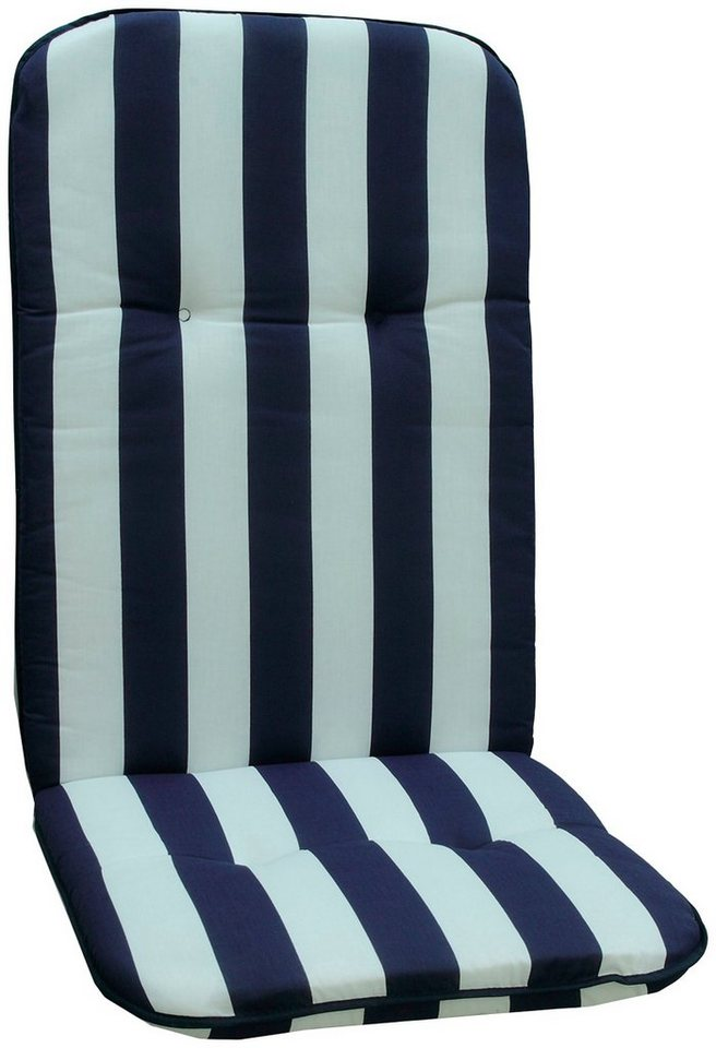 Hochlehnerauflage »Capri«, (L/B): ca. 115x48 cm in blau/weiß