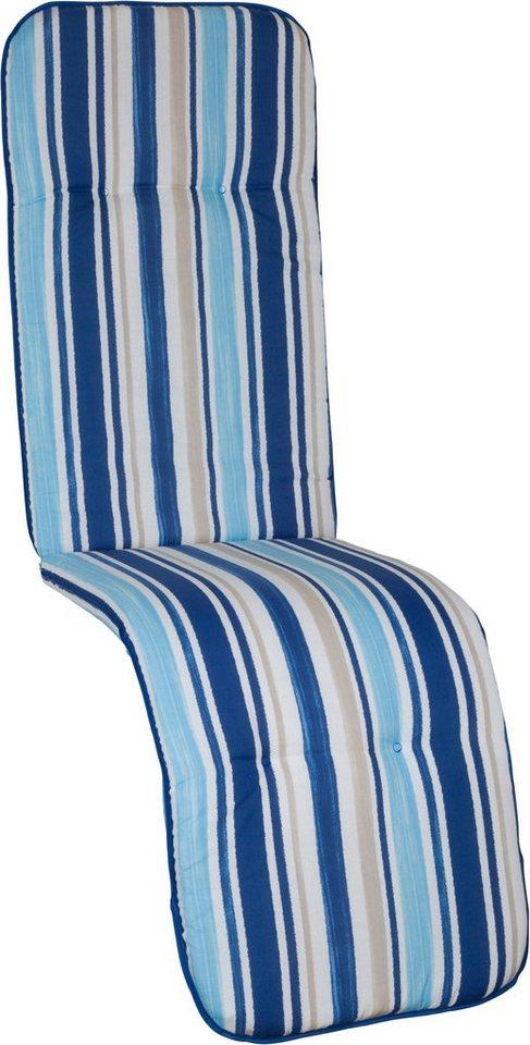 Sesselauflage »Capri«, (L/B): ca. 175x48 cm in hellblau/weiß