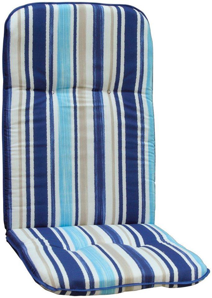 Hochlehnerauflage »Capri« (4 Stück) in hellblau/weiß