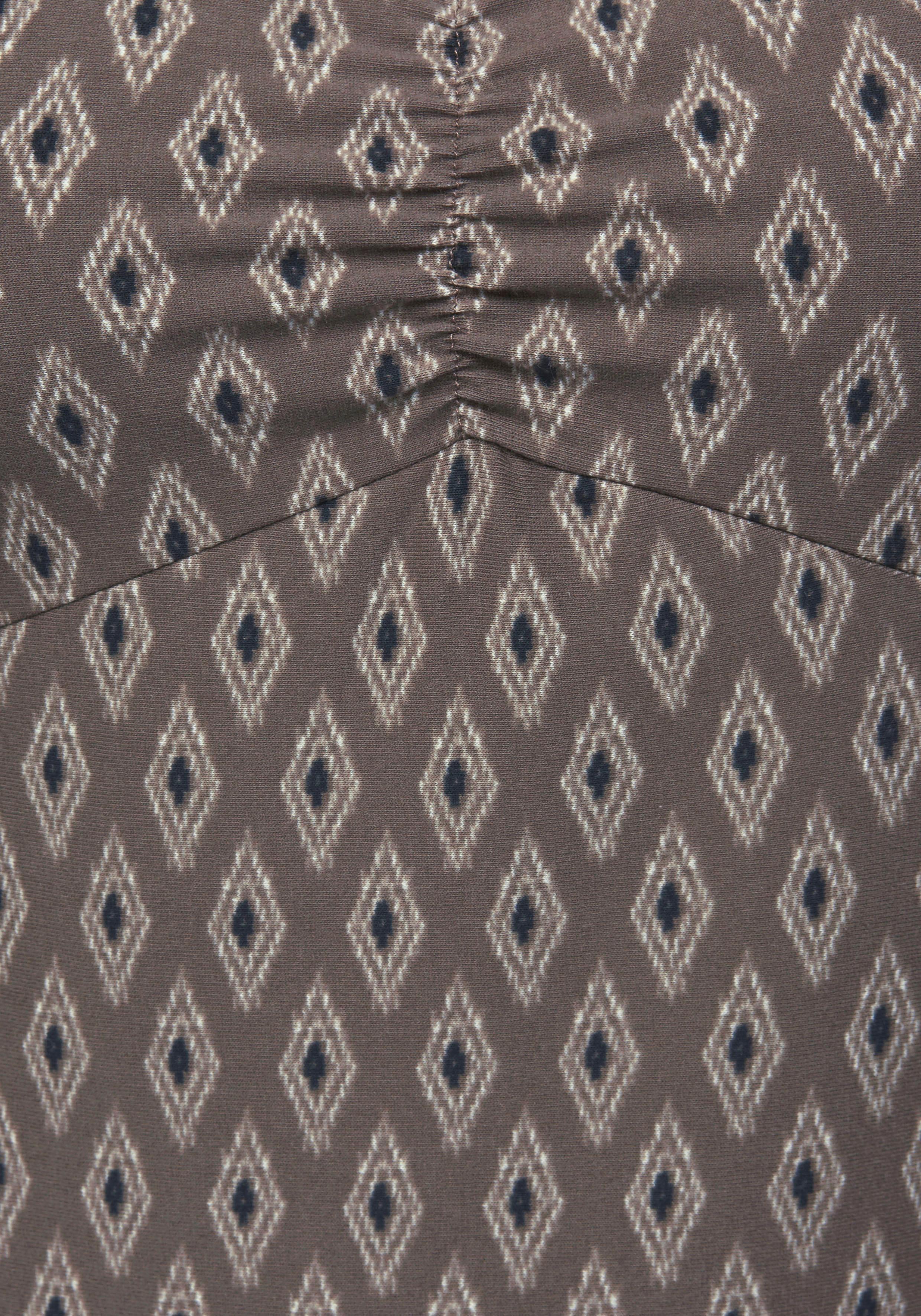 Länge Boysen's Jerseykleid Knieumspielender BordürendruckIn Online Kaufen Aufwendigem Mit N8kXZnP0wO