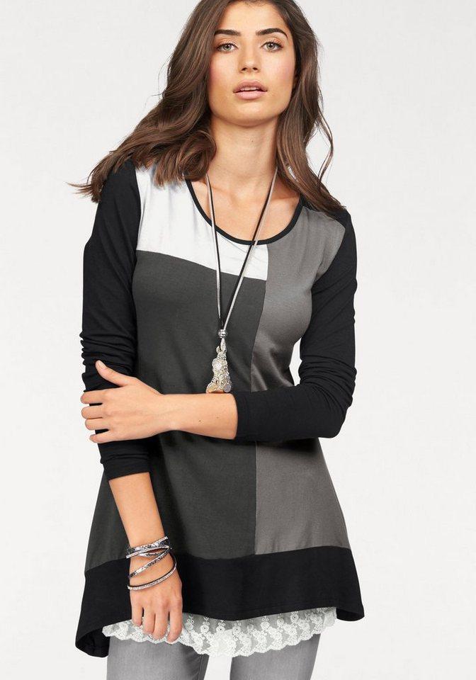 Damen Boysen s Vokuhila-Shirt im Colour-Block-Design grau | 08680847020229
