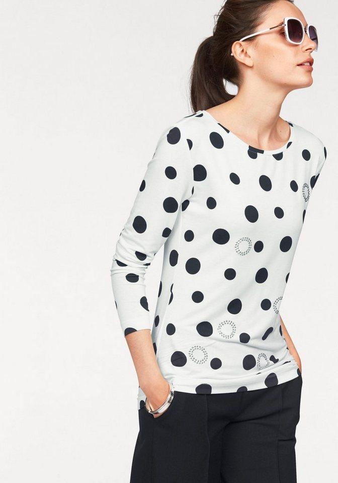 Bruno Banani Rundhalsshirt Comeback des Jahres: Polka-Dots in weiß-schwarz