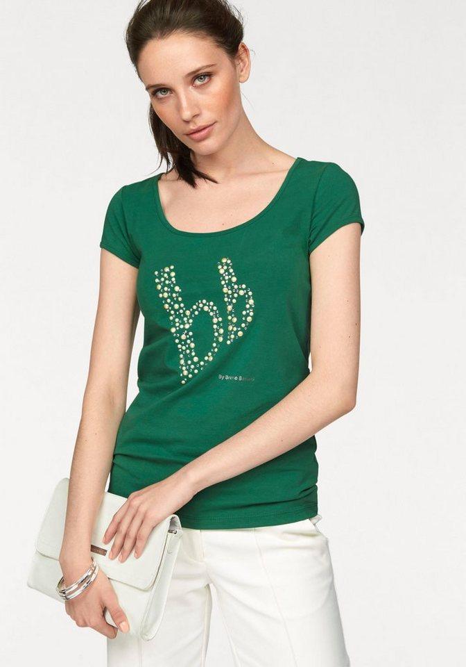 Bruno Banani T-Shirt mit Zierperlen-Logo in grün